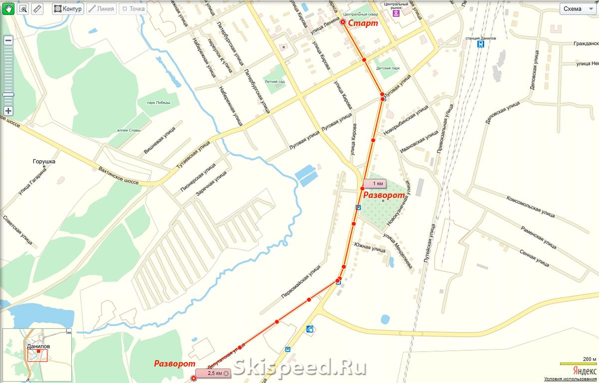 Схема дистанции в Данилове