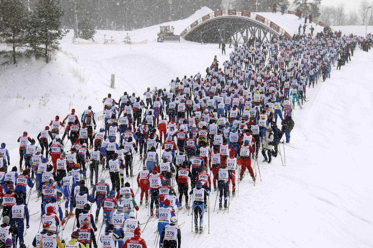 Старт Деминского лыжного марафона