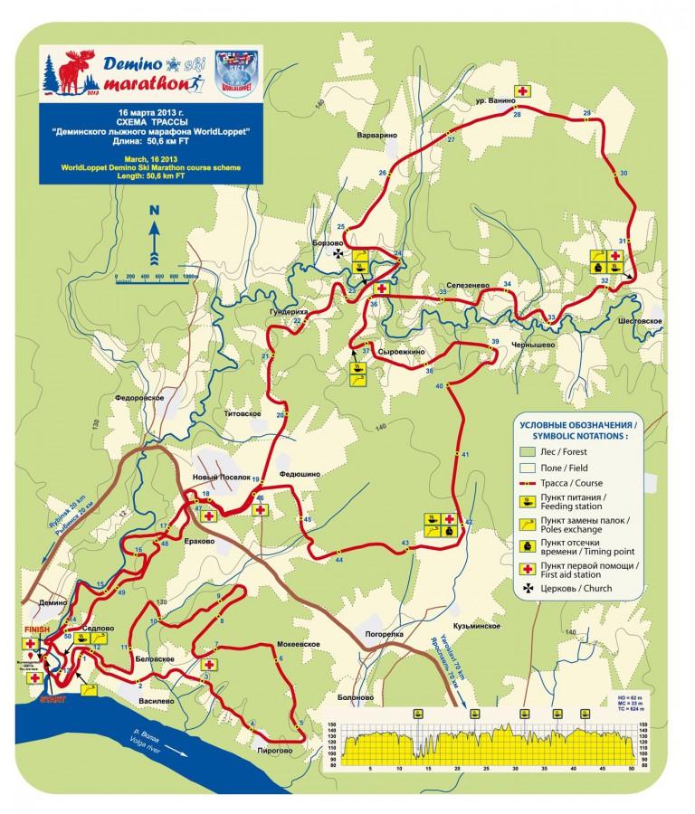 Схема Деминского лыжного марафона 2013