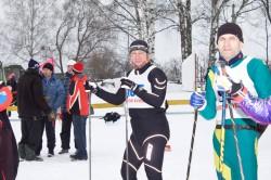 Фото спортсменов на старте лыжного марафона