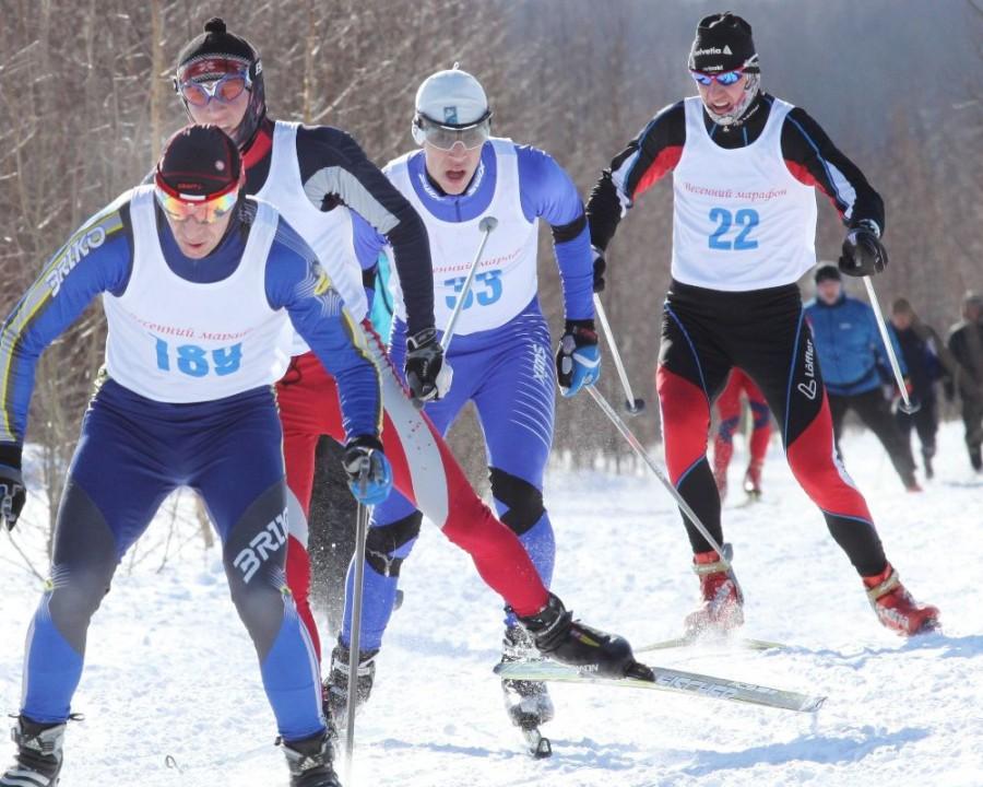 Активная борьба на лыжне.