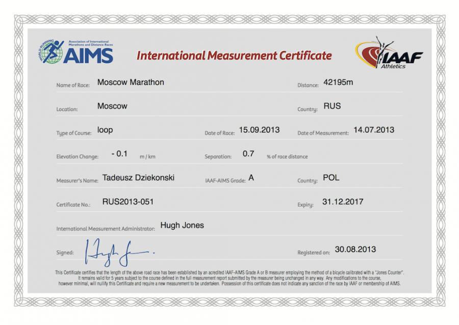 Сертификат беговой трассы Первого Московского марафона