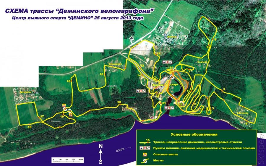 Схема трассы Деминского веломарафона 2013