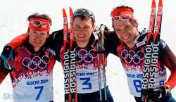 Фотография победителей лыжного марафона на олимпиаде Сочи 2014, Легков, Вылегжанин, Черноусов с лыжами Rossignol