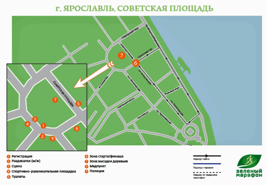Зеленый марафон 2014, схема круга, место старта