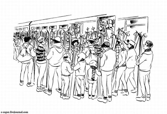 Перевозка лыж в поезде