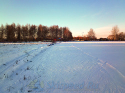 Стадион НКЗ в снегу. Тренировка на лыжах в Норском 2014