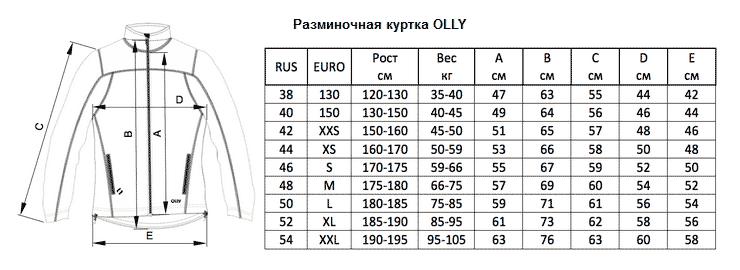 Фото - Таблиц размеров разминочной куртки Olle
