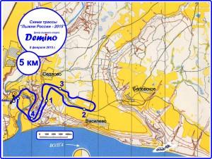 Схема дистанции Лыжни России 2015 на 5 км.