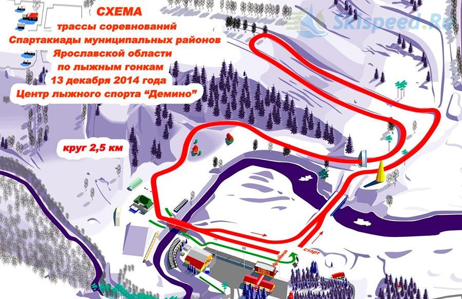 Схема лыжного круга в Демино