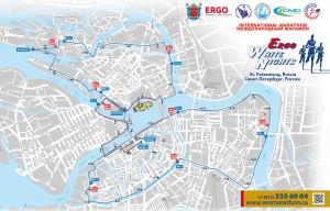 Схема беговой дистанции марафона Белые ночи 2015