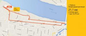 Схема дистанции 21,1 км. Рыбинский полумарафон 2015