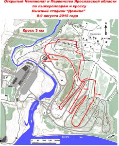 Схема дистанции для бега на 3 км. на Чемпионате Ярославской области по лыжероллерам и кроссу 2015