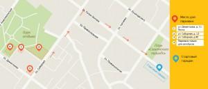 Карта-схема - Места парковки на Тутаеском полумарафоне 2016