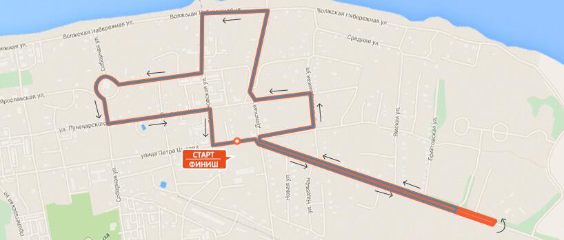 Карта-схема - Дистанция 10 км. на Тутаевском полумарафоне 2016