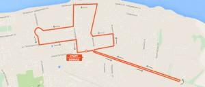 Карта-схема - Дистанция 21,1 км. на Тутаевском полумарафоне 2016