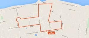 Карта-схема - Дистанция 3 км. на Тутаевском полумарафоне 2016