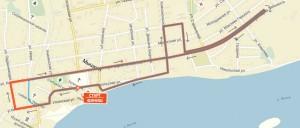 Карта-схема на 10 км. - Мышкинский полумарафон 2016