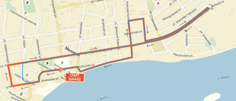 Карта-схема на 10 км. - Мышкинский полумарафон 2017