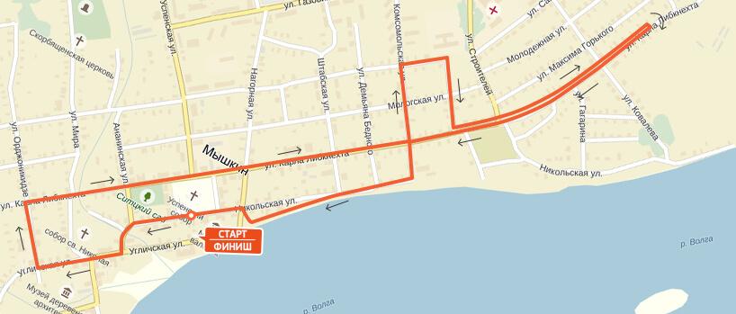 Карта-схема на 21,1 км. - Мышкинский полумарафон 2017
