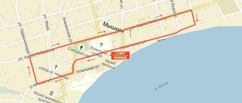Карта-схема на 3 км. - Мышкинский полумарафон 2017