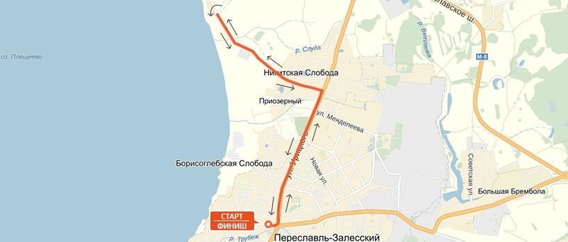 Карта-схема на 10 км. - Переславский марафон 2016