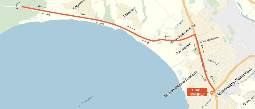 Карта-схема на 21,1 км. - Переславский марафон 2017