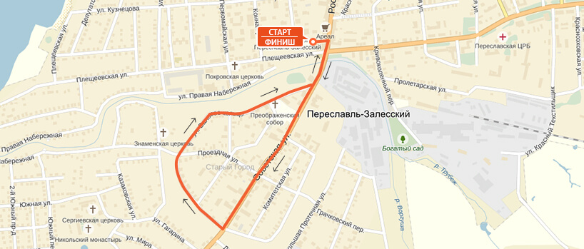 Карта-схема на 3 км. - Переславский марафон 2016