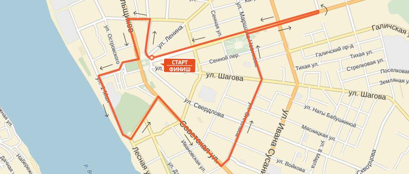 Карта-схема на 21,1 км. Костромской полумарафон 2016