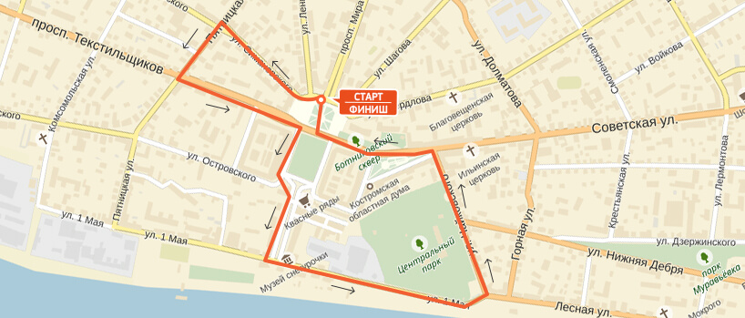 Карта-схема на 3 км. Костромской полумарафон 2016