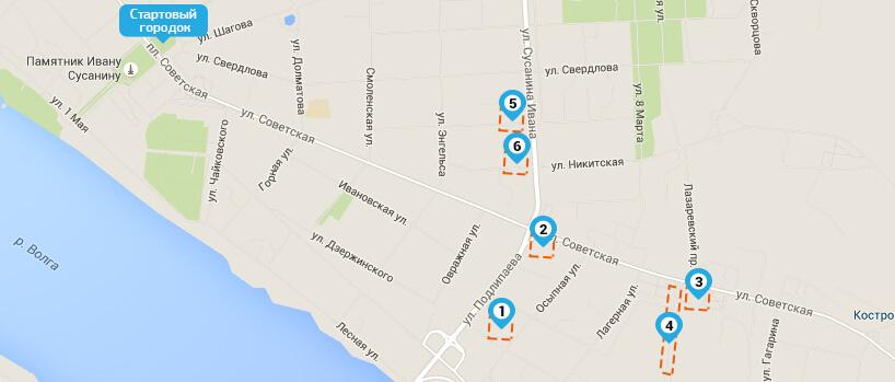 Схема. Места парковки авто - Костромской полумарафон 2016