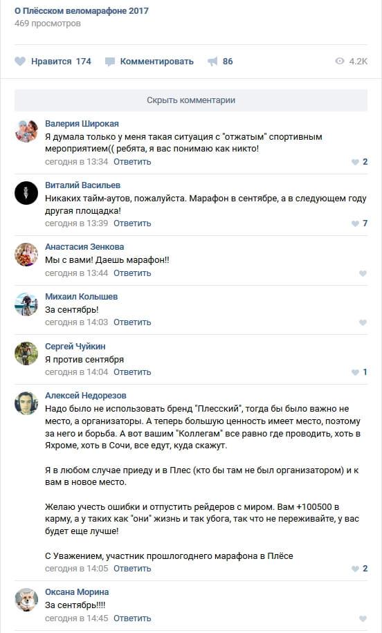 Фото отзывов ВКонтакте - О Плёсском веломарафоне 2017