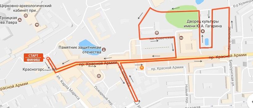 Фото карты схемы - полумарафон в Сергиев Посаде 2017
