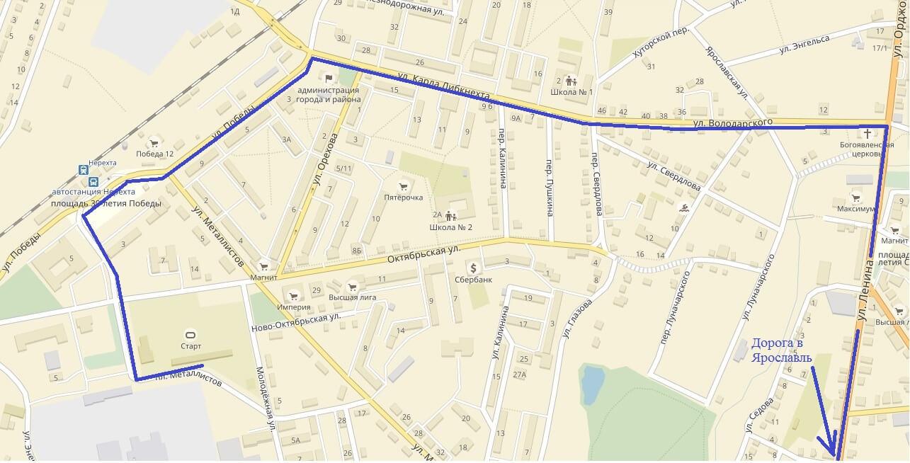 Фото скана схемы пробега в г. Нерехта, стадиона Старт и дороги в Ярославль