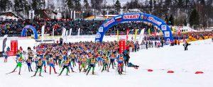 Фото старта лыжников - Дёминский лыжный марафон 2017