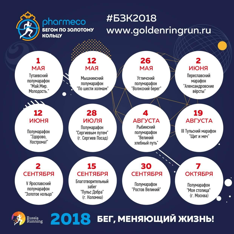 Фото - Афиша Бегом по Золотому кольцу 2018, Ярославская, Московская обл.