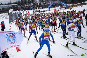 Фото старта лыжников - Деминский лыжный марафон, Рыбинск