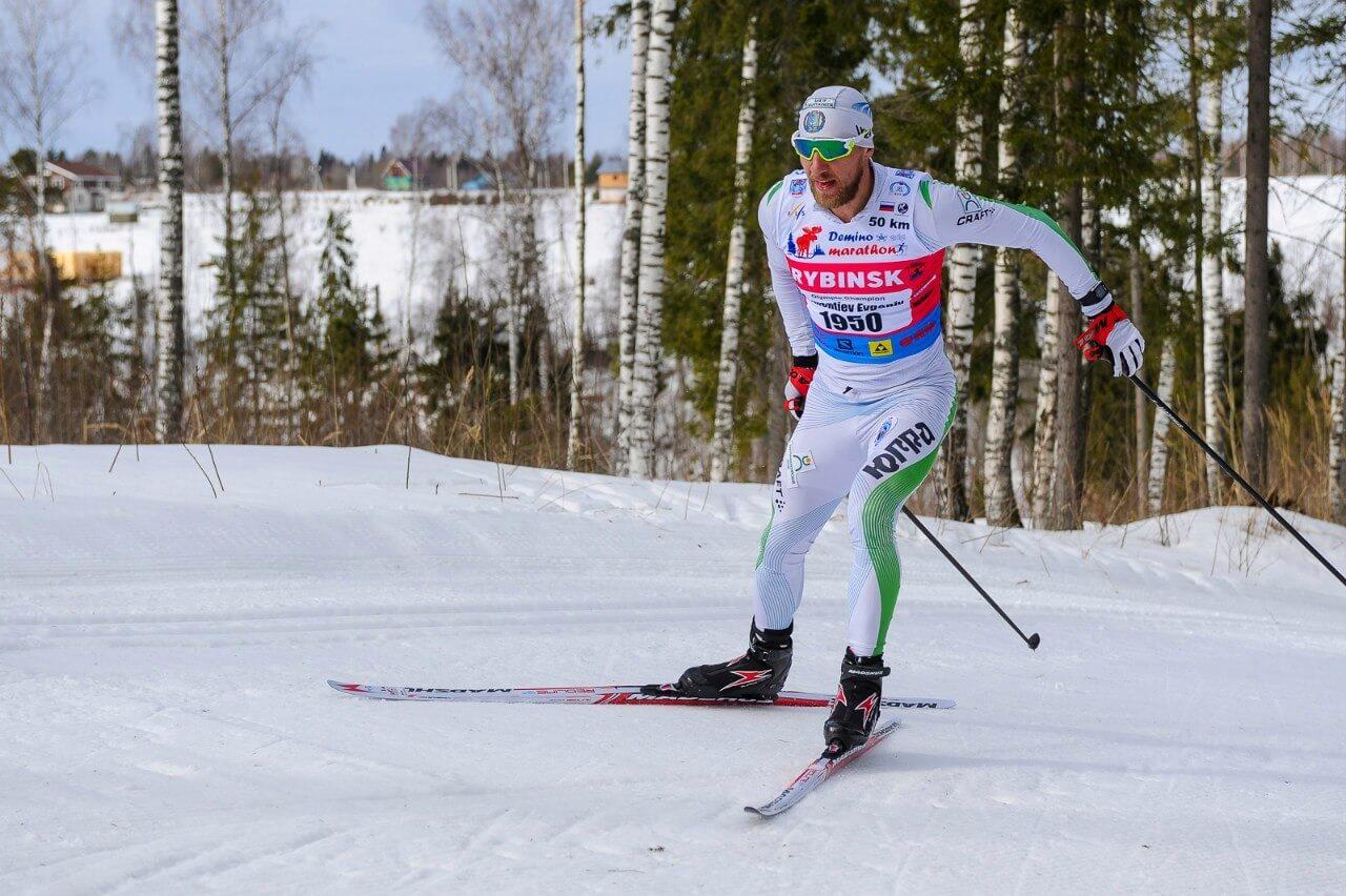 Фото лыжника - Евгений Дементьев на Деминском лыжном марафоне 2018