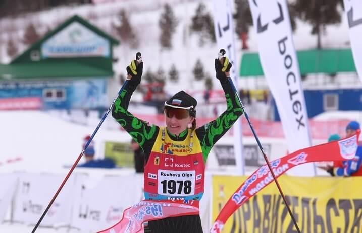 Фото лыжницы - Ольга Рочева на Деминском лыжном марафоне 2018