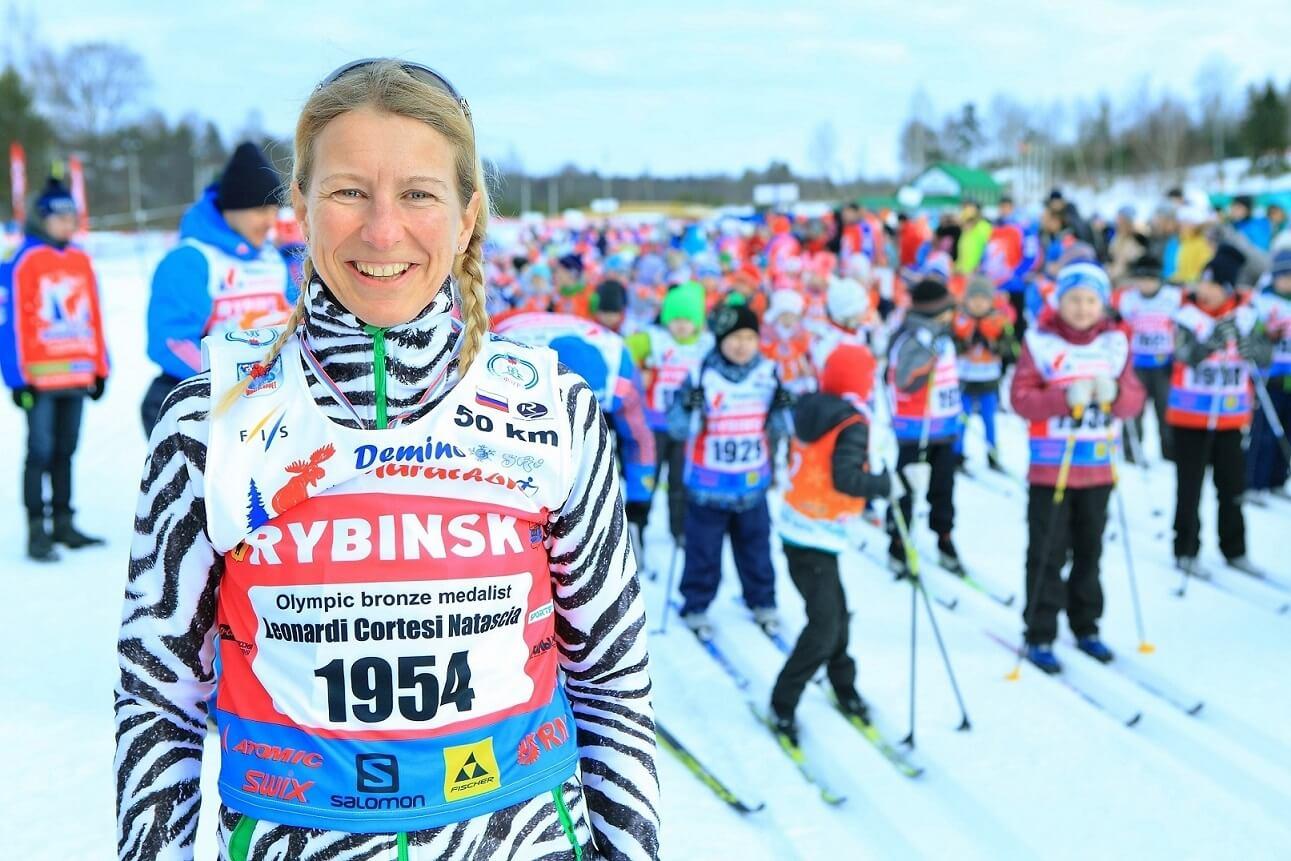 Фото лыжницы - Наташа Леонарди-Кортези на Деминском лыжном марафоне 2018