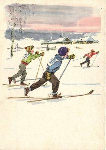 Фото детей на лыжах - Занимайтесь спортом. Плакаты СССР