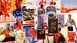 Фото коллаж - Занимайтесь спортом. Плакаты СССР