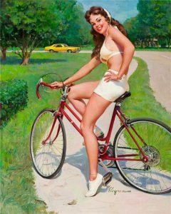 Фото девушки на велосипеде. Занимайтесь спортом. Плакаты СССР