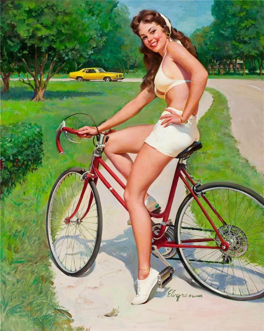 Фото девушки на велосипеде - Занимайтесь спортом. Плакаты СССР