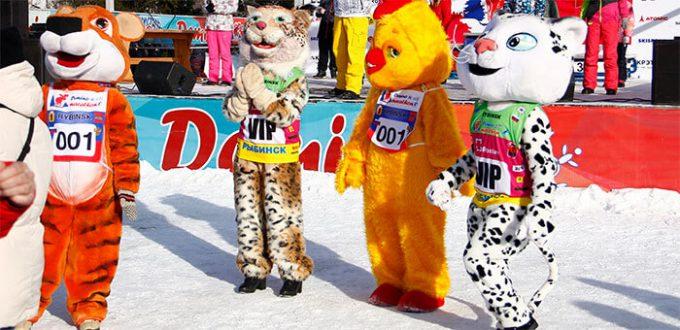 Фото ростовых кукол - Дёминский лыжный марафон 2019
