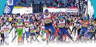 Фото старта. Дёминский лыжный марафон 2021